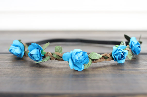 Wedding - Aqua Flower Crown, Wedding Crown, Floral Crown Headband, Bridal Headband, Boho Flower Headband, Coachella Headband, Festival Flower Headband
