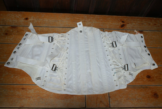 Свадьба - Rare Vintage White Buckle / Strap Up Corset / Girdle / Back Support