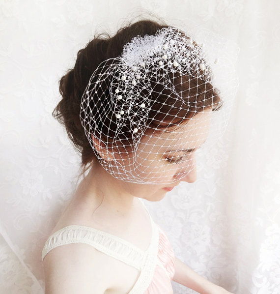 Wedding - wedding birdcage veil with pearl, small wedge bridal veil - FROST - russian veiling, ivory beige or white bird cage  veil