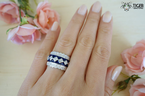 Mariage - SALE Sapphire Blue, Art Deco Scallop Design, Man Made Diamond Simulant Ring, Hand Painted, Sterling Silver, Engagement Ring, Promise Ring