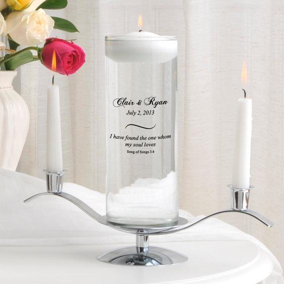Mariage - Glass Wedding Candle Vase - Personalized Unity Candle - Floating Candle_377