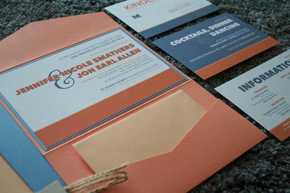 زفاف - Custom Wedding Pocket Invitation Suite- Modern, Coral, Peach, Blue Fall Invite w/ RSVP card, Reception, Travel Art Deco SAMPLE or DEPOSIT