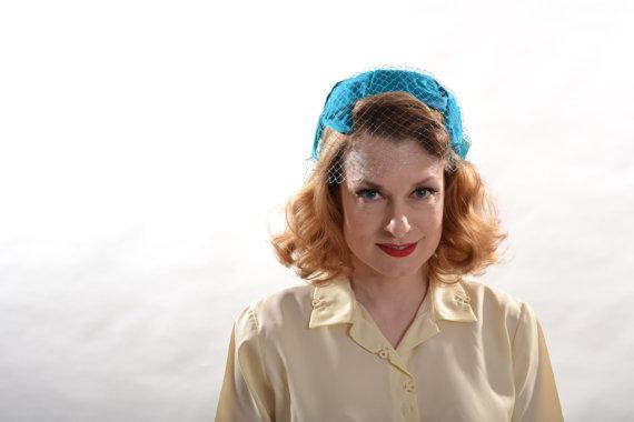 Mariage - Vintage 1950s Bow Hat Veil - Turquoise Blue - Bridal Fashions