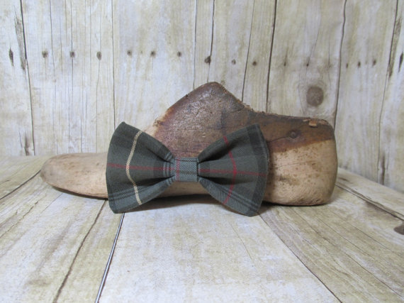 زفاف - Green Plaid Upcycled Bow Tie, Clip, Headband or Pet