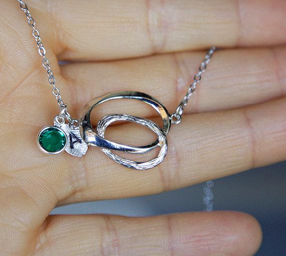 Hochzeit - Personalized Circles Necklace, Minimalist, Rhodium Plated, Diamond Cut Chain, Cute Wedding Jewelry, Custom Hand Stamping, Birthstone Crystal