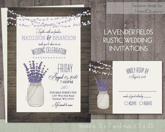 Mariage - Mason Jar and Lavender Wedding Invitation- Rustic Mason Jar Wedding Set Barn Wood and dangling lights Wedding Digital Printable DIY Files