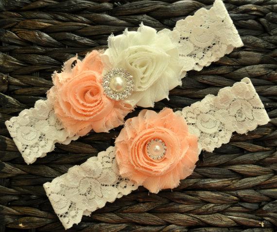 Hochzeit - Wedding Garter Set, Bridal Garter Set, Light Peach Wedding Garter, Light Peach Bridal Garter, Ivory Lace Garter, Ivory Wedding Garter Belt