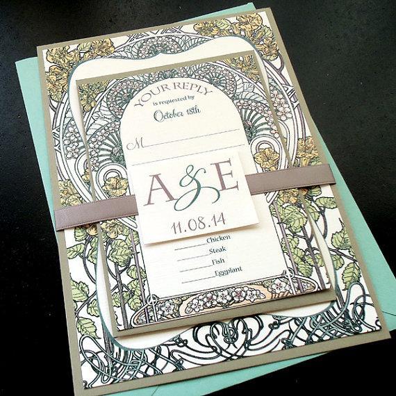 Botanical Garden Wedding Invitation Sets Art Nouveau Deco Gatsby Physical Sample Only
