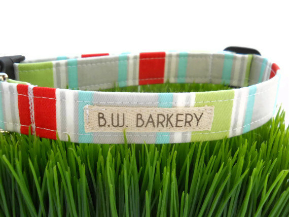 زفاف - Dog collar...Aqua,red,grey,lime and white stripe print...Any size...