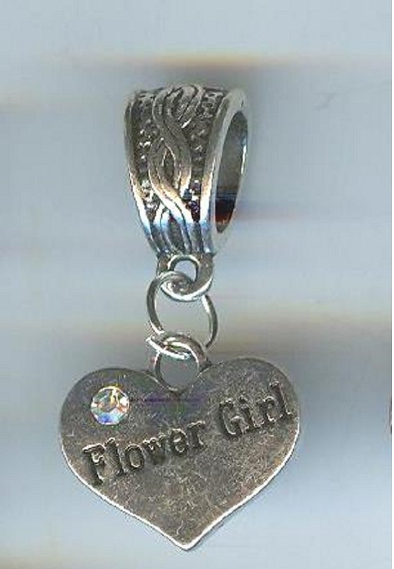 Свадьба - Pretty!  FLOWER Girl HEART with Crystals, Double Sided, Charm Fits European and Charm Bracelet, Pet Collar, Backpack, Key Ring - E107-3