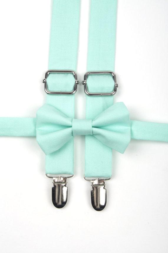 Hochzeit - Mint bow tie & suspenders, mint suspenders, mint green bow tie, ring bearer outfit, mint wedding, boys mint bow tie, toddler suspenders
