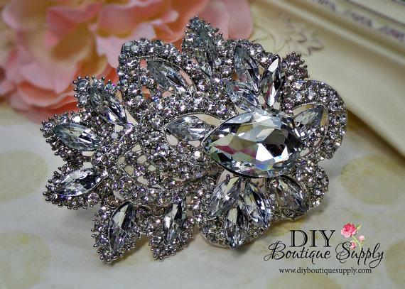 Hochzeit - HUGE 4 Inch Crystal Brooch Large Rhinestone Brooch Bouquet Crystal Wedding Bridal Accessories Sash Pin Back 96mm 450250