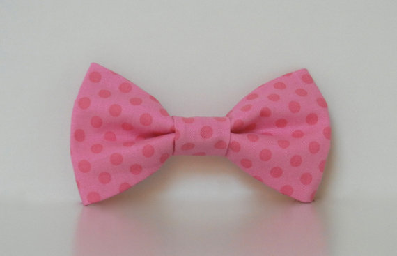 Свадьба - Pink Polka Dot Dog Bow Tie Wedding Accessories Valentine's Day Collar Made To Order