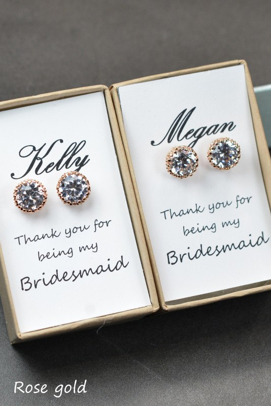 Mariage - Rose Gold Earrings,cubic zircon,Wedding Jewellery,Rose Gold Bridal Jewelry SET,silver set,Bridal Set,Bridesmaids Jewelry Set,Crystal Pendant