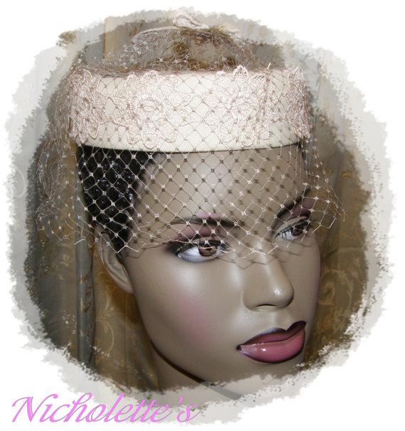 Mariage - Vintage Halo Hat  Birdcage Veil Soft Beige Hints Pink  Lace Appliques Perfect for Wddings