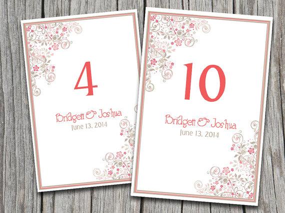 vintage floral flourish wedding table number microsoft word template