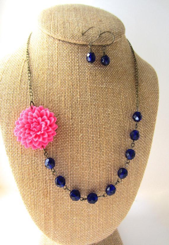 زفاف - Pink and Navy Blue Necklace Flower Statement Necklace Navy Jewelry Navy Wedding Bridesmaid Jewelry Wedding Jewelry Flower Necklace
