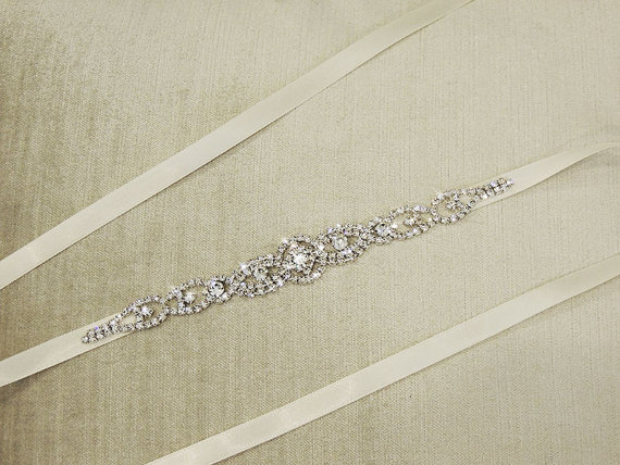 Mariage - Thin Wedding Dress Belt Sash, Bridal Gown Rhinestone Belt Sash ,bridal sash ,Thin Crystal sash belt - ALEXA