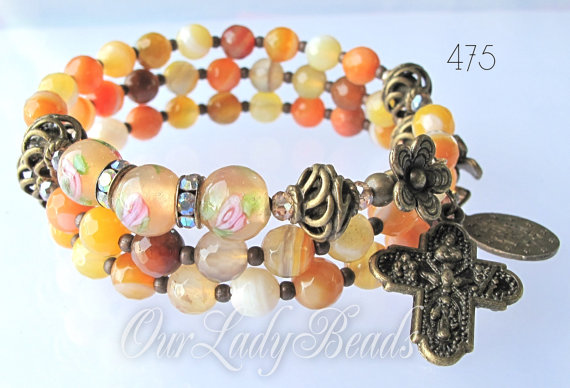 Mariage - Rosary Bracelet Wrap,Multi-color Agate Beads 6mm,Religious Jewelry,Catholic Jewelry,Bridal,Mother's Day,Confirmation,Wedding,#475