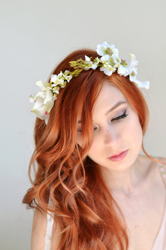 Wedding headband dogwood crown white flower crown bridal wedding headband dogwood crown white flower crown bridal headpiece woodland wedding hair accessories mightylinksfo