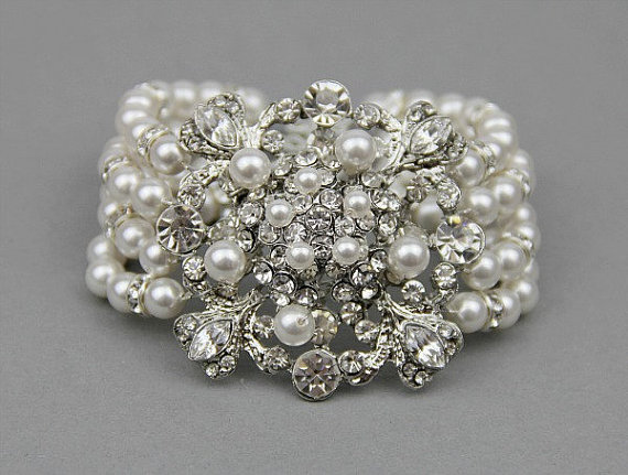Bridal Jewelry Wedding Pearl Bracelet Rhinestone Statement Vintage Style Crystals And Pearls Cuff Accessories
