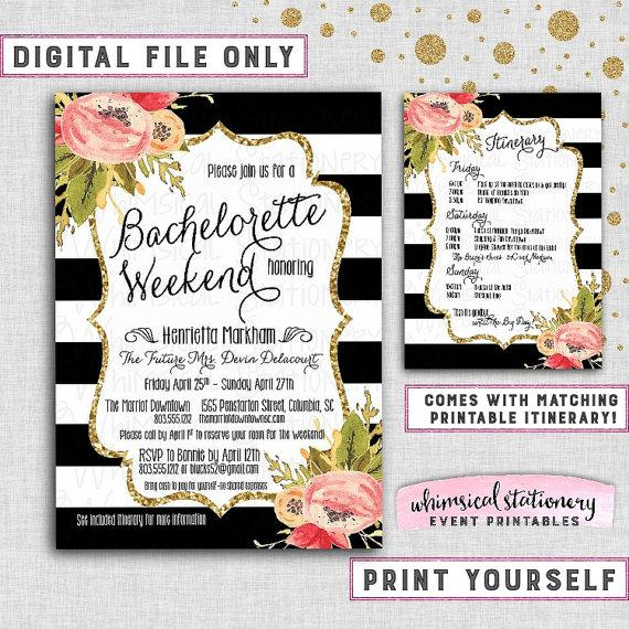 bachelorette party weekend invitation itinerary black and white florals collection printable file only vintage stripe gold glitter