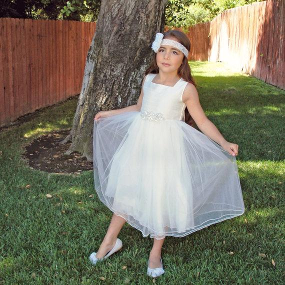 Wedding - Silk and tulle flower girl dress - X Large