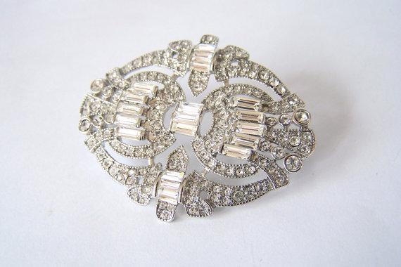 Свадьба - Rhinestone Brooch Pin, Crystals, Hair Comb, Shoe Clip, Wedding Bridal Accessories Sash Pin
