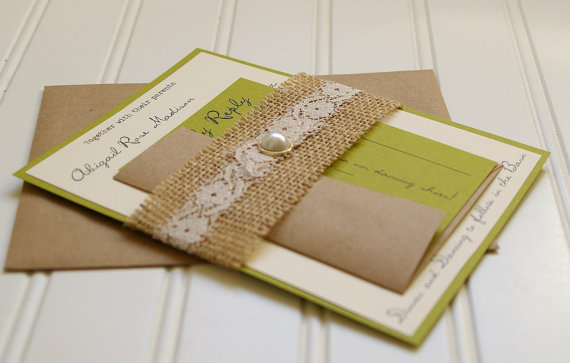 burlap and lace wedding invitations unique handmade pearl, Wedding invitations