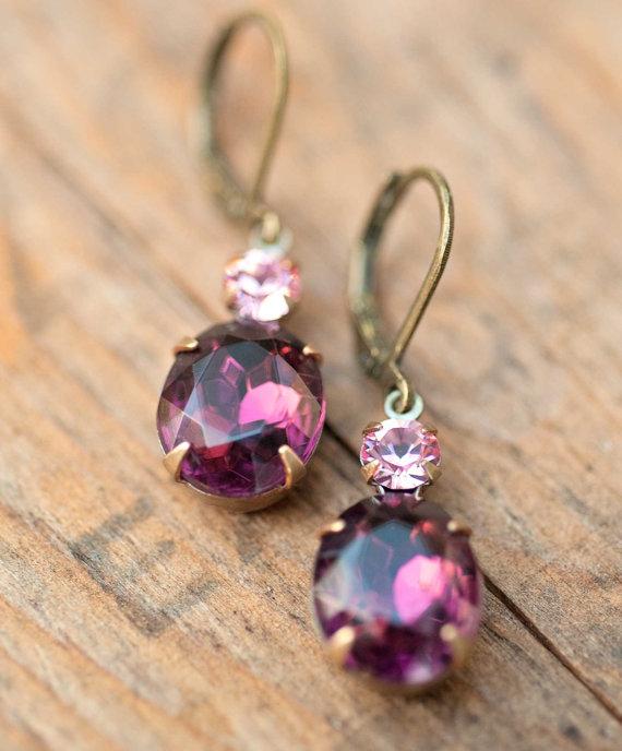 Mariage - Vintage Earrings Swarovski Crystal Bridesmaids Jewelry Wedding Jewelry Drop Earrings Bridesmaids Gift Amethyst Jewel - Violet Charm