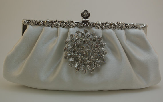 Wedding - Wedding Clutch - Ivory Bridal Handbag - Round Crystal Clutch - Satin Bridal Handbag in Ivory - Lush Ivory Satin Formal Clutch Crystal Purse