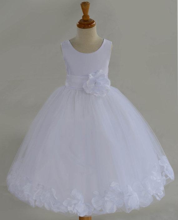 Wedding - White Flower Girl dress bow sash pageant petals wedding bridal children bridesmaid toddler elegant sizes 6-9m 12-18m 2 4 6 8 10 12 14