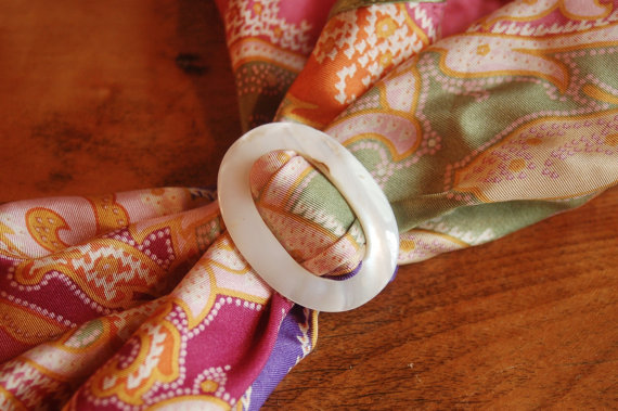 Свадьба - Mother of Pearl Buckle, Art Deco MOP Scarf Slide Belt Buckle, White Oval Shell Scarf Clip, Wedding Bridal