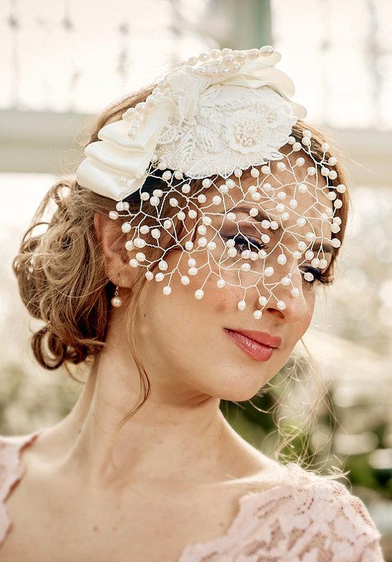 زفاف - Bridal Veil MARGO – detachable Pearl Birdcage Veil with mini hat, fresh water pearls, lace applique' and bow, made to order