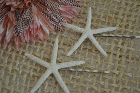 Свадьба - White Finger Starfish Hair Pins,  Beach Accessories, Wedding Hair Pins