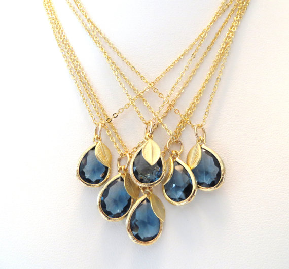 Свадьба - Navy Blue Bridesmaid Necklace Sapphire Blue Necklace Gold Leaf Necklace Navy Royal Blue Wedding Jewelry Something Blue Bridal Jewelry Cobalt