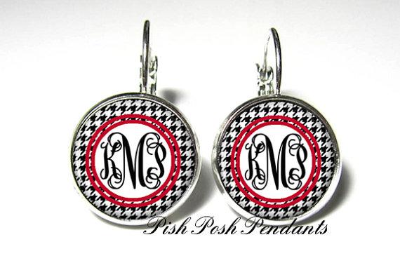 Mariage - Houndstooth Monogram Earrings, Bridesmaid Gift, Monogram Jewelry Personalized Earrings (530)
