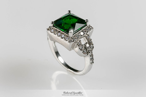Emerald green ring 7 carat emerald cocktail cz engagement ring
