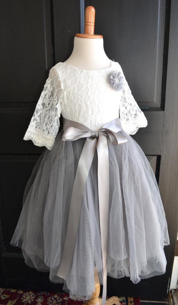 Gray Lace Flower Girl Dresses