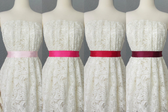 Wedding - Wedding Bridal Double Faced Satin Ribbon Sash Pink, Fuschia, Red and Burgundy
