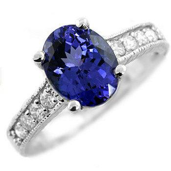 Wedding - 2.27ct Oval AAA Tanzanite & Diamond Engagement Ring 14k White Yellow Rose Pink Gold Vintage Antique Style
