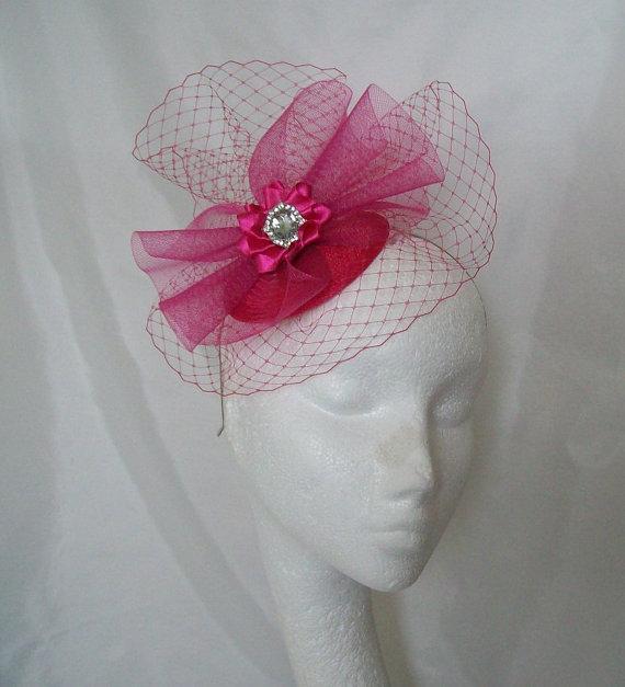 زفاف - Bright Cerise Pink Veil Crinoline Swirl & Pearl Rhinestone Fascinator Mini Hat Wedding - 'Custom Made to Order'