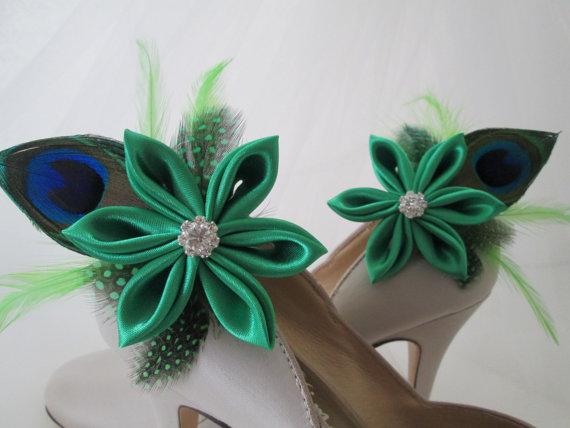 Wedding - Kelly Green Shoe Clips, Peacock WEDDING Shoe Clips, IRISH Bride Shoe Accessories, Kanzashi Flower Shoe Accessories Fascinator, Wedding Shoes