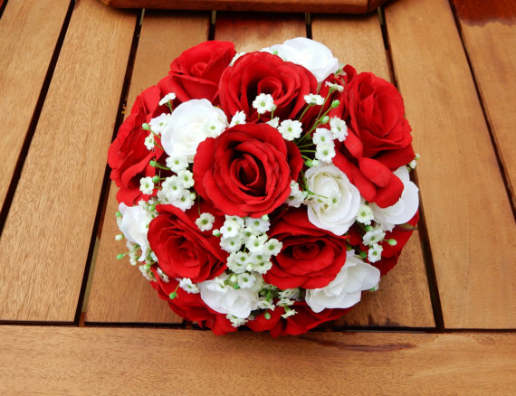 White Red Rose Gypsophilla Wedding Bouquet