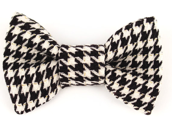 Свадьба - Dog Collar Bow Tie Classic Black & White Houndstooth collar accessory