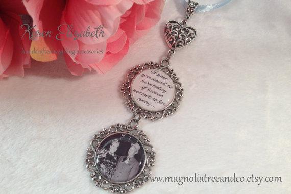 Mariage - Bridal Charm, Wedding Bouquet Charm, Memorial Charm, Pendant, Custom Photo, Karen Elizabeth, Double Pendant Heart Wedding Charm (BC004)