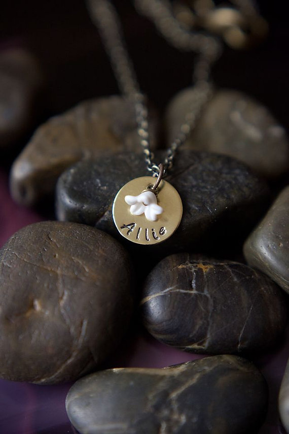 Wedding - SALE - Flower Girl Jewelry - Flower Girl Gift - Wedding Necklace - Children Jewelry - Flower Necklace - Personalized Necklace -Name Necklace