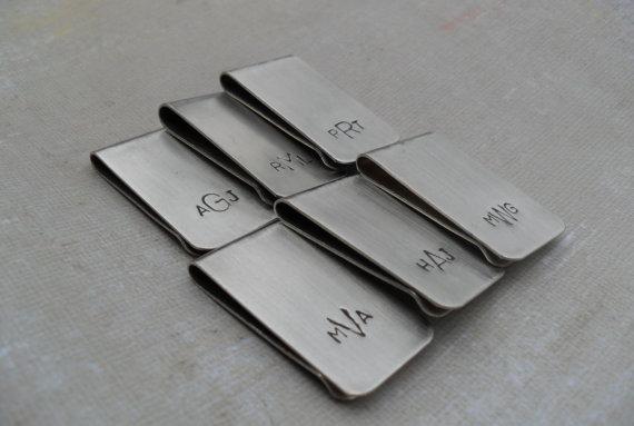 Hochzeit - 6 Men's Money Clips Custom Initials Moneyclips SET of 6 Wedding Groomsmen Gifts for Groom