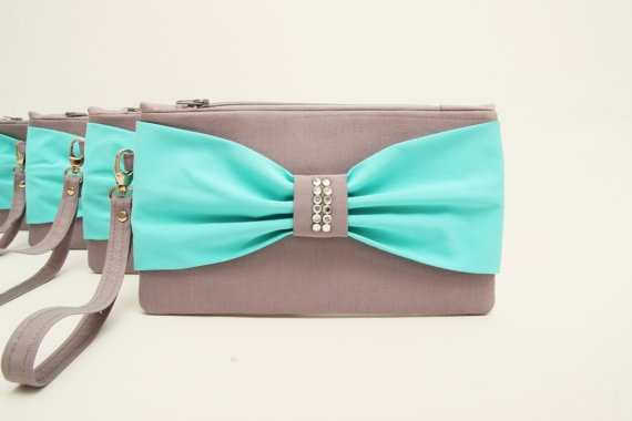 زفاف - Promotional sale   - SET OF 10 -grey ,tiffany blue, bow wristelt clutch,bridesmaid gift ,wedding gift ,make up bag,zipper
