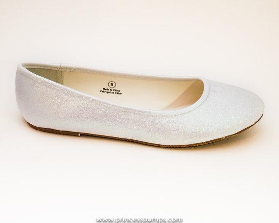 Mariage - Glitter Crystal Iridescent Iris White Ballet Flat Slipper Custom Shoes